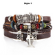 Multi-Layer-Vintage-Lederarmband mit Charms
