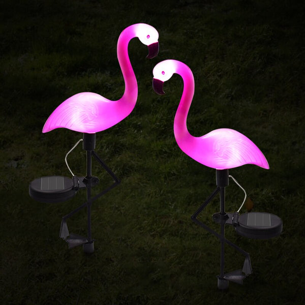 Dekorative LED-Solar-Flamingos in Rosa
