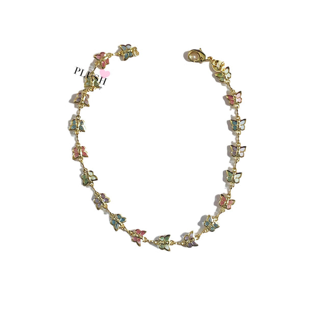 Multi Color Butterfly Anklet