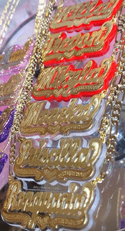Golden Double Plated Color Name Chain