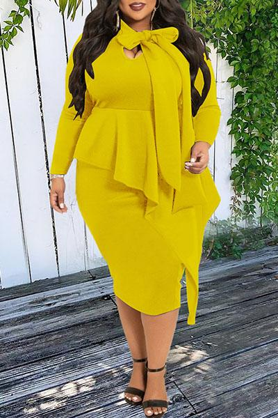 Plus Size Bow Long Sleeve Dress