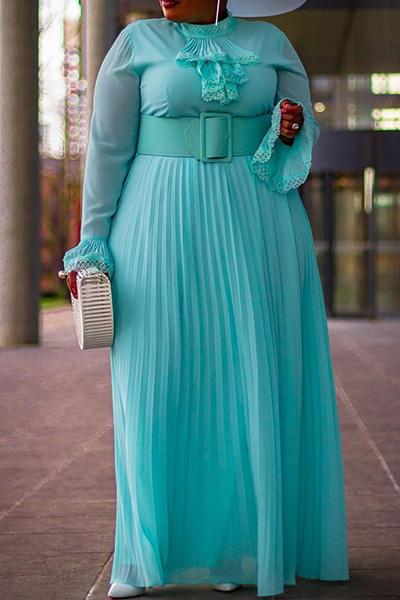 Plus Size Flare Sleeve Pleated Dress (Without Belt)