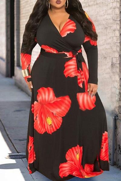 Plus Size Flower Printed Maxi Dress