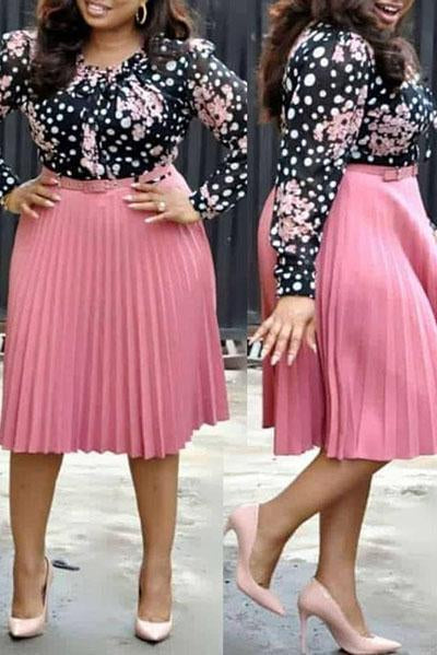 Print Long Sleeve Pleated Dress With Belt