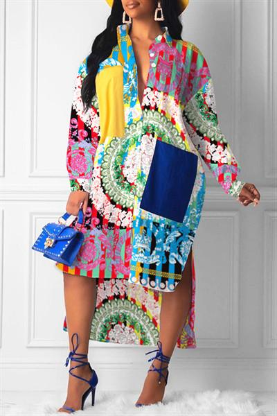 Turndown Collar Irregular Patchwork Shirt Dress