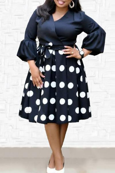 Flare Sleeve Polka Dot Midi Dress
