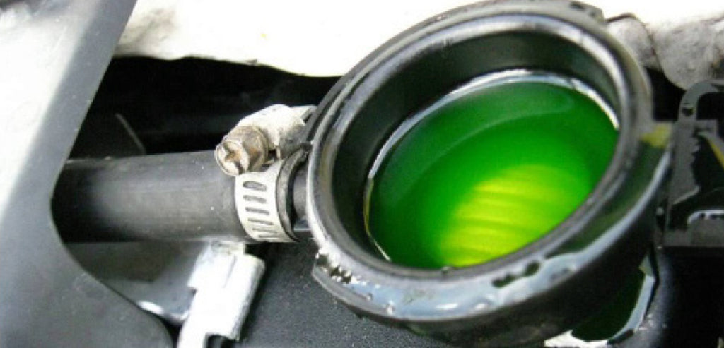 Green antifreeze in cooling system intake