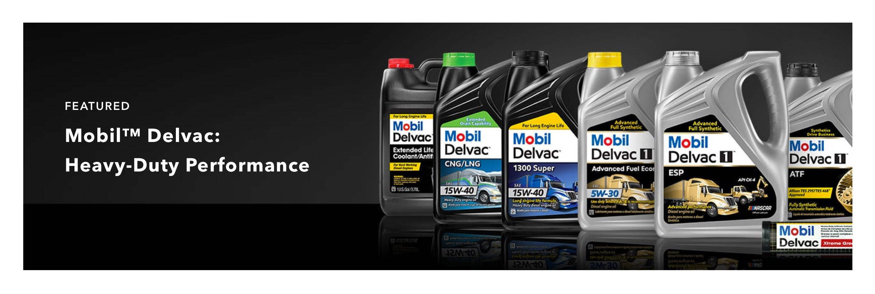 Mobil Delvac Advertisement - 6 motor oil canisters