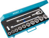 HAZET Socket set 1000 ∙ Square, hollow 20 mm (3/4 inch) ∙ Number of tools: 15