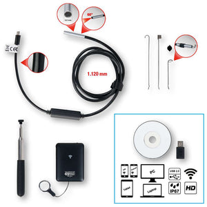 Wi-Fi video scope set with Ø 5.5 mm 0° front camera probe, 8 pcs