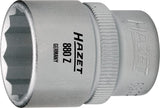 HAZET Socket (12-point) 880Z-12 ∙ Square, hollow 10 mm (3/8 inch) ∙ Outside 12-point traction profile ∙ 12 mm