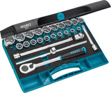 HAZET Socket set 900 ∙ Square, hollow 12.5 mm (1/2 inch) ∙ Outside hexagon Traction profile ∙ Number of tools: 25