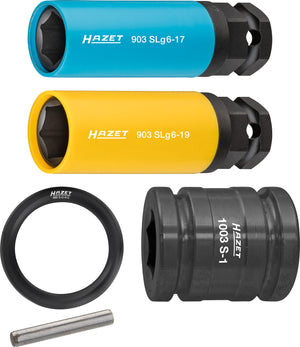 HAZET Impact socket set with special 6-point 903SLG6/5 ∙ Square, hollow 12.5 mm (1/2 inch), Outside hexagon 24 mm ∙ Outside hexagon Traction profile ∙ Number of tools: 5