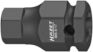 HAZET Impact ∙ screwdriver socket 985S-17 ∙ Square, hollow 12.5 mm (1/2 inch) ∙ Inside hexagon profile ∙ 17 mm