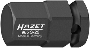 HAZET Impact ∙ screwdriver socket 985S-22 ∙ Square, hollow 12.5 mm (1/2 inch) ∙ Inside hexagon profile ∙ 22 mm