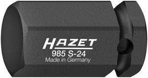 HAZET Impact ∙ screwdriver socket 985S-24 ∙ Square, hollow 12.5 mm (1/2 inch) ∙ Inside hexagon profile ∙ 24 mm