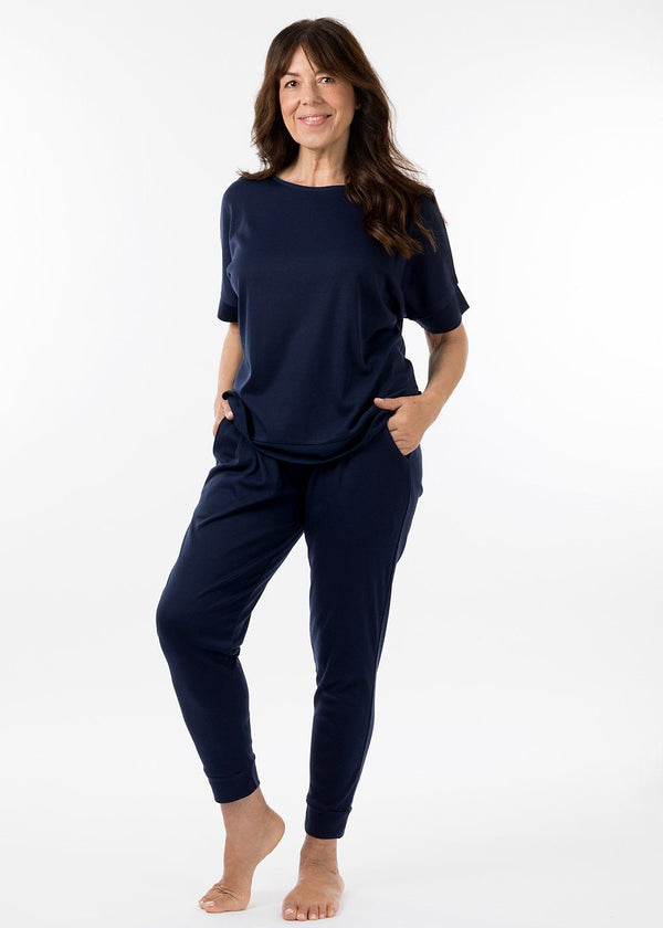 eaden loungewear navy short sleeve top