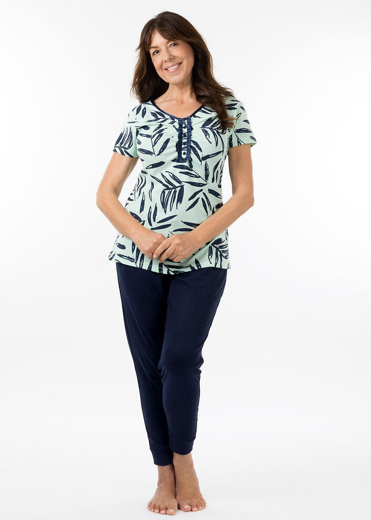 eaden sleepwear - georgia short sleeve pj top in bermuda print