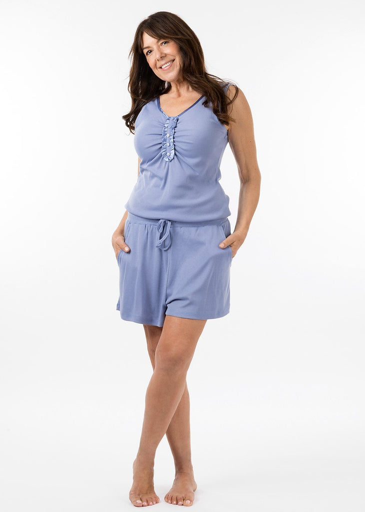 ladies sleepwear - pj short in periwinkle