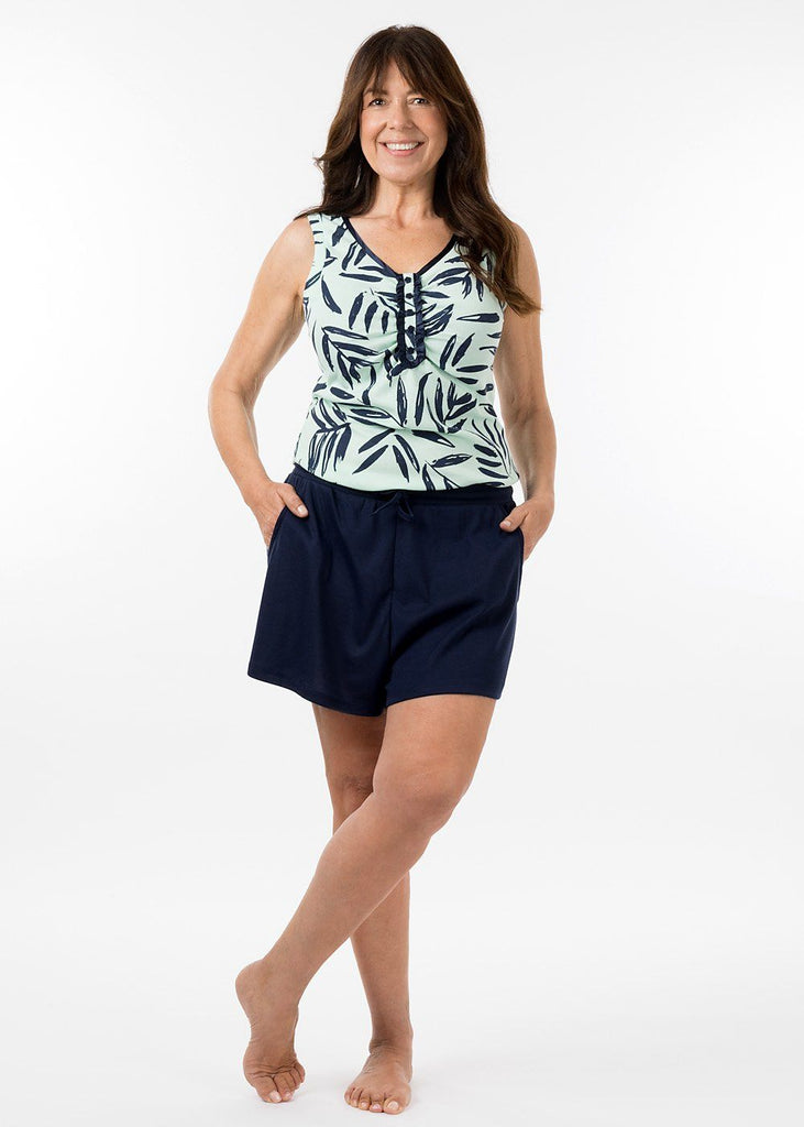 ladies sleepwear - navy boyfriend short
