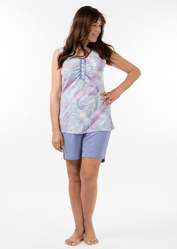 ladies sleepwear - eva pj short in periwinkle