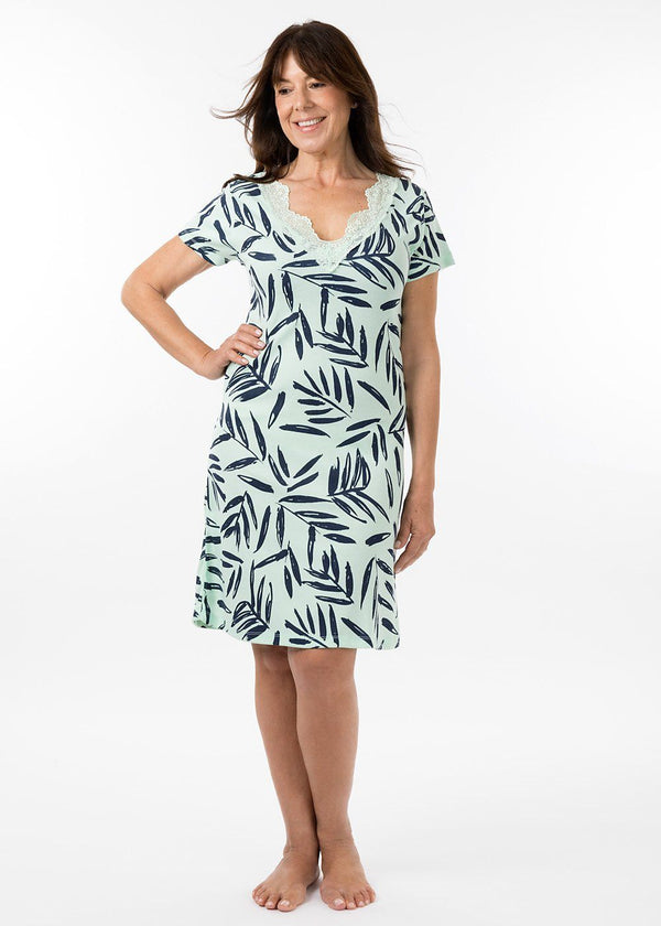 ladies nightwear - grace short sleeve nightie in bermuda print