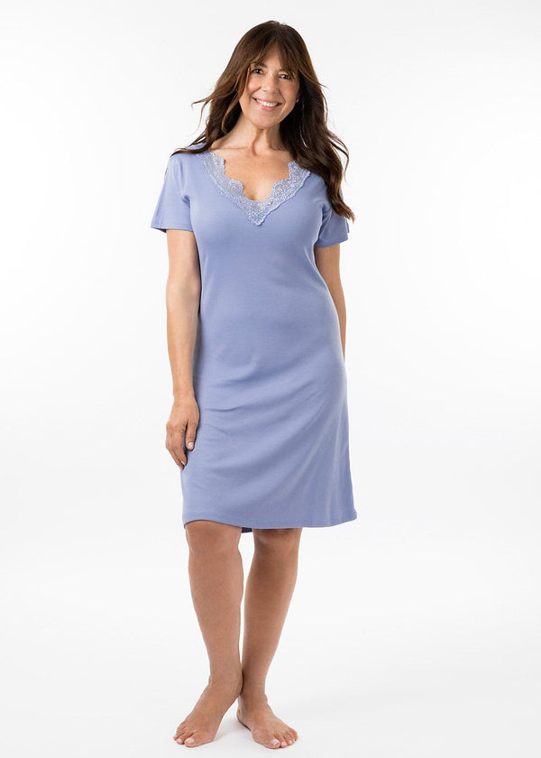 ladies nightwear - grace short sleeve nightie periwinkle