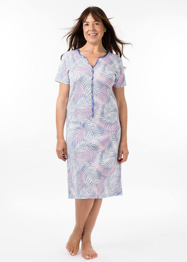 ladies nightwear - henley short sleeve nightie in havana print