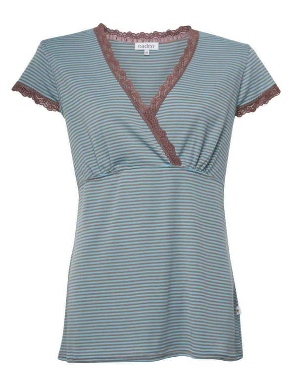 Crossover Top – Taupe Stripe
