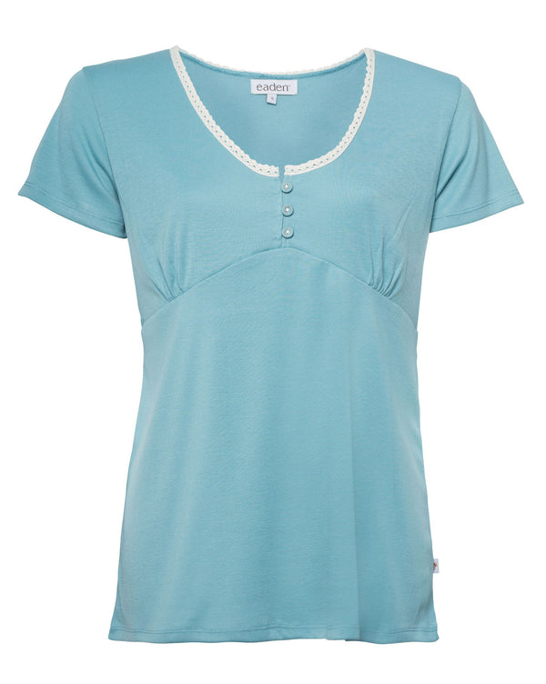 Laura Short Sleeve Top – Cameo Blue