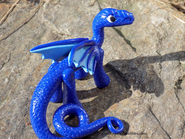 Handcrafted blue scaled dragon from Blue Dragon Collectibles