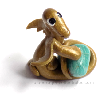 Golden Dragon with Amazonite Crystal, Blue Dragon Collectibles