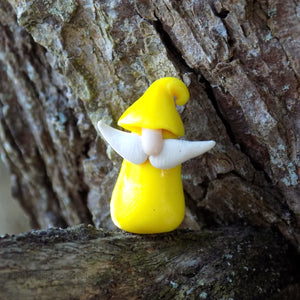 Mini Gnome Yellow against Tree Bark Background Blue Dragon Collectibles