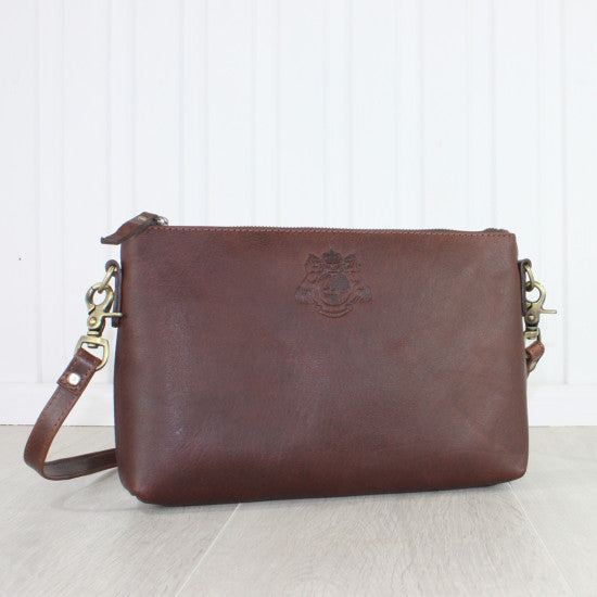 Essentials Leather Handbag, Dark Brown