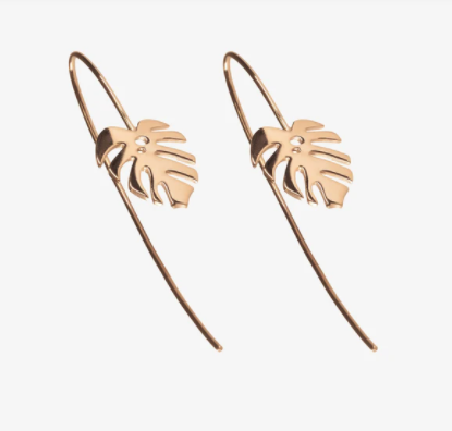 Hanging Monstera Drop Backs Rose Gold