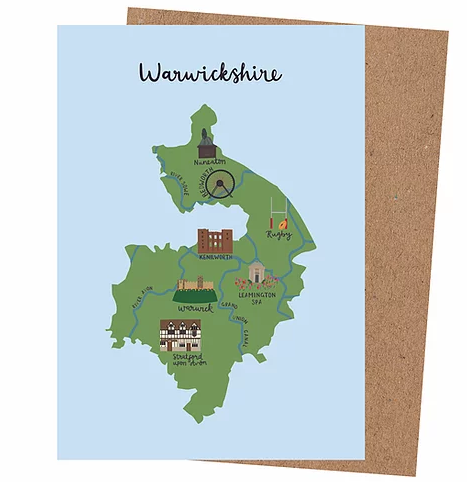 'Warwickshire Map' Card