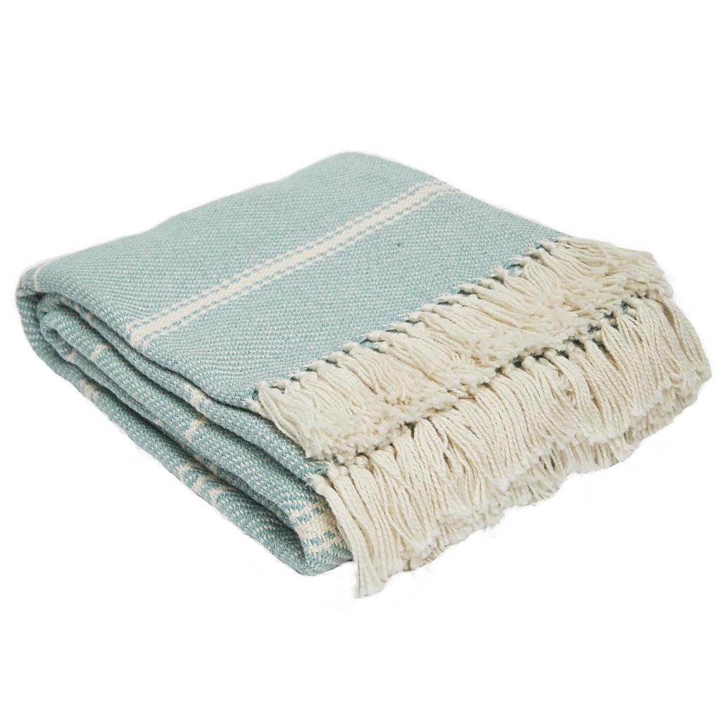 Oxford Stripe Teal Blanket
