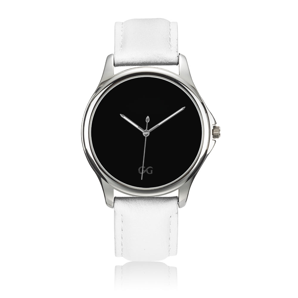 GG Stainless Steel Watch with White Leather Band
