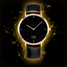 Load image into Gallery viewer, GG Black Leather Band Gold Stainless Steel Watch