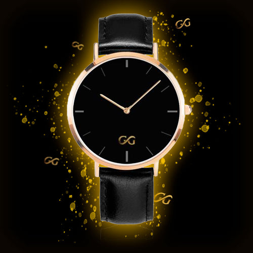 GG Black Leather Band Gold Stainless Steel Watch