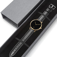 Load image into Gallery viewer, GG Gold with Black Leather Band Watch V2