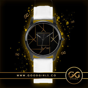 GG Art Deco Watch White Leather Band