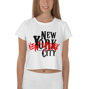 New York City White All-Over Print Crop Tee