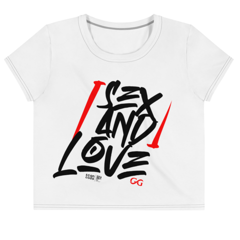 Sex and Love White All-Over Print Crop Tee