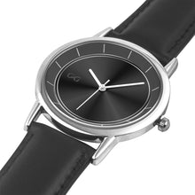 Load image into Gallery viewer, GG Black & Silver Stainless Steel Genuine Leather Band Water resistance Unisex Watch 2