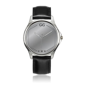 GG Silver Stainless Steel Genuine Leather Band Office Unisex Watch