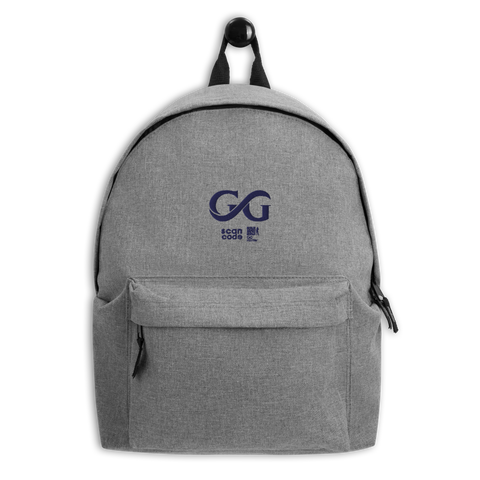 GG Gray Embroidered Backpack