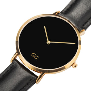 GG Gold with Black Leather Band Watch V2