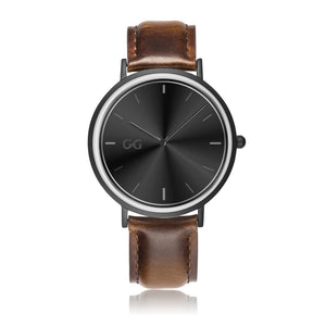 GG Brown Leather Strap Stainless Steel Watch