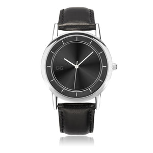GG Black & Silver Stainless Steel Genuine Leather Band Water resistance Unisex Watch 2